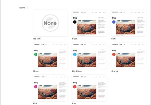 どのテーマにもついているスキン。配色の構成を考えるのに便利です。